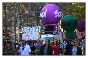 Die SUD auf der ersten Pariser Herbstdemo 2018