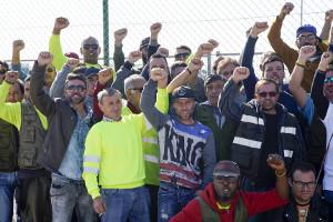 Portugal: Die Tagelöhner im Hafen von Setubal seit zwei Wochen im Streik, hier am 16.11.2018
