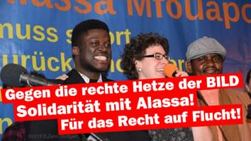 Solidarität mit Alassa Mfouapon gegen die rechte Hetze der BILD-Zeitung (Bild: Rebell)