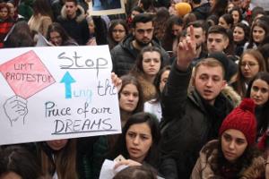 Studierende der Universität Tirana demonstrieren gegen neoliberale Bildungsreform im Dezember 2018