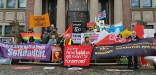 Gewerkschaftlich-bunt und sozial-bewegter Start ins Jahr 2019 - gegen Entlassungen und Lohnsenkungen bei Chemiekonzernen in der Industriegemeinde Bomlitz