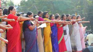 """Der """"Wall der Frauen"""" im indischen Kerala: Millionenfach gegen die Hindufanatiker im Januar 2019"""