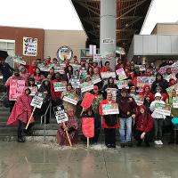 Lehrerstreik Los Angeles Januar 2019: Schon am ersten Streiktag wurde die Propaganda der Stadt widerlegt - über 30.000 streikten