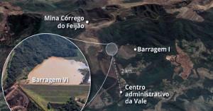Eine Skizze des am 25.1.2019 gebrochenen Staudamms im brasilianischen Brumadinho: Die Kantine lag direkt unterhalb...