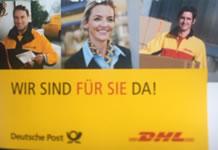 """""""Wir sind für Sie da!"""" Eigenwerbung der Post AG"""