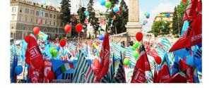 Die Demonstration der drei grossen Verbände in Rom gegen die italienische Rechtsregierung am 9.2.2019 fand auch unternehmerische Unterstützung...