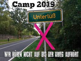 """Vom 1. – 9. September 2019 wird es wieder ein Camp unter dem Motto """"Rheinmetall entwaffnen – Krieg beginnt hier""""  in Unterlüß geben"""