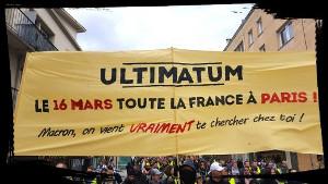 Der Aufruf am 16. März 2019 in Paris landesweit zu demonstrieren, wurde an vielen Orten verbreitet - hier in Rouen