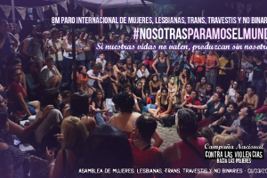 Gemeinsames Plakat von frauneorganisationen und Gewerkschaften sowie sozialen Bewegungen zum argentinischen Frauentsreiktag 2019