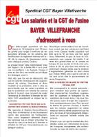 Das Flugblatt der CGT Fnic (Chemie) gegen die Entlassung eines Aktiven durch Bayer in Villefranche