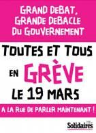 Streikaufruf der SUD für den 19.3.2019 in Frankreich