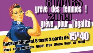 Plakat zum Frauenstreik in Frankreich am 8.3.2019 um 15.40 Uhr
