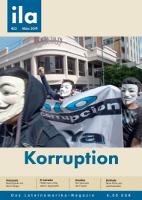 Das Titelblatt der ila Ausgabe 423 mit Schwerpunkt Korruption in Lateinamerika
