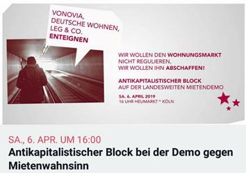 Antikapitalistischer Block beider Demo gegen den Mietenwahnsinn am 6. April 2019 in Köln