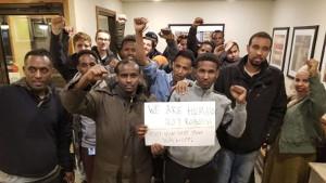 Somalische Lagerarbeiter bei Amazon in Minneapolis im Streik gegen Arbeitsbedingungen am 7.3.2019