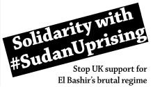 Solidaritätsplakat aus Grossbritannien mit dem Kamnpf gegen das Bashir-Regime im Sudan - und seine Unterstützung durch die EU