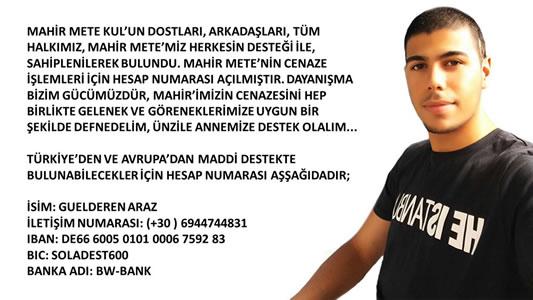 Spendenaufruf für die Bestattung von Mahir Mete Kul in Griechenland