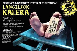 Baskische Gewerkschaften mobilisieren massiv gegen den Tod durch Arbeit - Plakat zum Kampagnenbeginn im Herbst 2018