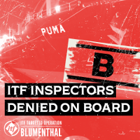 Protestplakat der ITF vom 18.4.2019 gegen die Zugangsverweigerung für Gewerkschafter durch die Reederei Blumenthal in Rotterdam