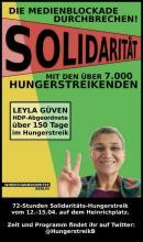 Das Plakat zu den Solidaritätsaktionen mit dem kurdischen Massenhungerstreik im April 2019