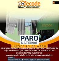 Das Plakat der Lehrergewerkschaft Fecode zum Generalstreik in Kolumbien am 25.4.2019