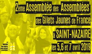 Plakat zur Versammlung der Versammlungen der Gelbwesten in Saint Nazaire am 5., 6. und 7. April 2019