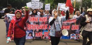 Streikdemonstration der Textilarbeiterinnen in der indonesischen Hauptstadt Mai 2019