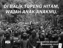 Plakat gegen die Massenfestnahmen von Anarchisten in Indonesien am 1. Mai 2019: Hinter den Masken sind euere Kinder...