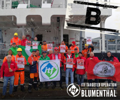 Nach Rotterdam im April 2019 wurde nun auch in Ghent im Mai 2019 von den ITF Gewerkschaften gegen die deutsche Reederei Blumenthal demonstriert