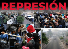 Plakat gegen Polizeigewalt in Honduras