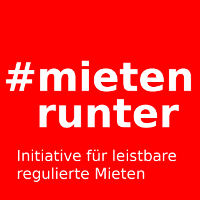 Plakat und Logo der Wiener Mietenkampagne: #mieten runter
