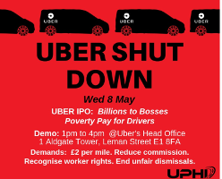 DAs Uber Streikplaka der IWGB in London am 8.5.2019