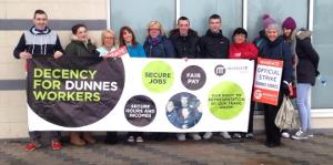 Die Beschäftigten der Einzelhandelskette Dunnes waren die wichtigsten Streikenden für den erfolg der ritischen Gewerkschaften im Kampf gegen Nullstundenverträge
