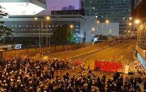 Barrikaden vor dem Parlament in Hongkong am 12.6.2019 gegen das Auslieferungsgesetz