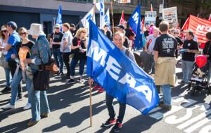 Die australische Mediengewerkschaft MEEA im Protest für Pressefreiheit 5.6.2019