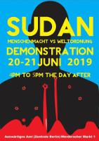 Plakat zum Protest vor dem deutschen Aussenministerium wg Einmischung im Sudan am 21.6.2019