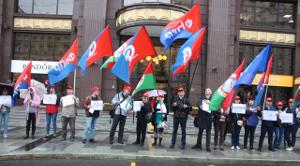 Protestdemo vor der Moskauer Nestle-Zentrale nach der Welle willkürlicher Entlassungen von Vertretern im Mai 2019