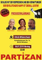 Protestplakat gegen die erneuten Verhaftungen im Münchner Kommunistenprozess 8.7.2019