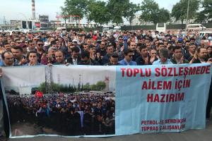 4.000 Ölarbeiter in der Türkei im Streik am 29.6.2019: Weil die Behörden auf Seiten des Kapitals stehen...