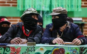 Bei der Vorstellung des Kommuniques der Zapatisten am 17.8.2019