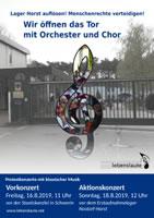 """[Netzwerk """"Lebenslaute""""] Musiker-Demo gegen Zustände in Erstaufnahme Nostorf-Horst: """"Wir öffnen das Tor mit Orchester und Chor - Lager auflösen! Menschenrechte verteidigen!"""""""