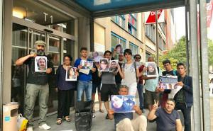 Die Solidaritätsaktion beim DGB Frankfurt mit den inhaftierten iranischen GewerkschafterInnen am 29.7.2019