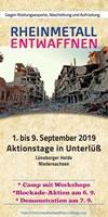 """Aktionstage/Camp/Demo vom 1.-9. September 2019 am Produktionsstandort in Unterlüß bei Celle: """"Rheinmetall entwaffnen - Rüstungsproduktion blockieren!"""""""