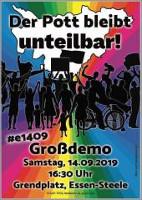 Plakat zur Demonstration gegen Steeler Jungs und andere Nazis am 14.9.2019 in Essen