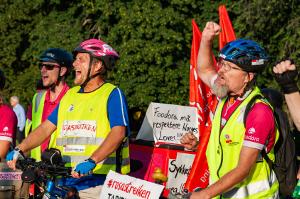 Streik in Rosa: Im August 2019 begannen die Foodora-FahrerInnen in Oslo ihren Streik
