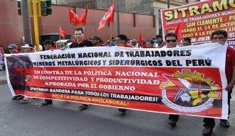 Die Streikdemonstration der peruanischen Bergarbeiter in Lima am 11.9.2019