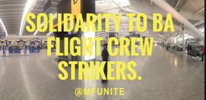 Solidarität von unite mit dem Pilotenstreik bei British Airways am 9. und 10. September 2019