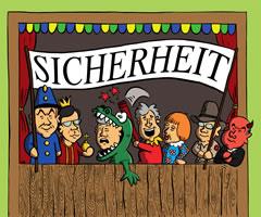 """Kasperle-Theater zur """"Sicherheit"""". Grafik von Jascha Buder zur Kampagne von Digitalcourage"""