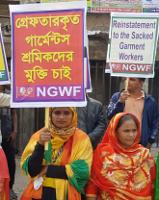 Eine der zahlreichen Protestaktionen 2019 in Bangladesch für die Wiedereinstellung der wegen des Streiks im Januar entlassenen 12.000 Beschäftigten