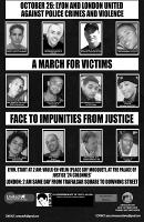 Das Plakat mit dem für die Aktion gegen rassistische Polizeigewalt in drei Ländern gleichzeitig protestiert wird